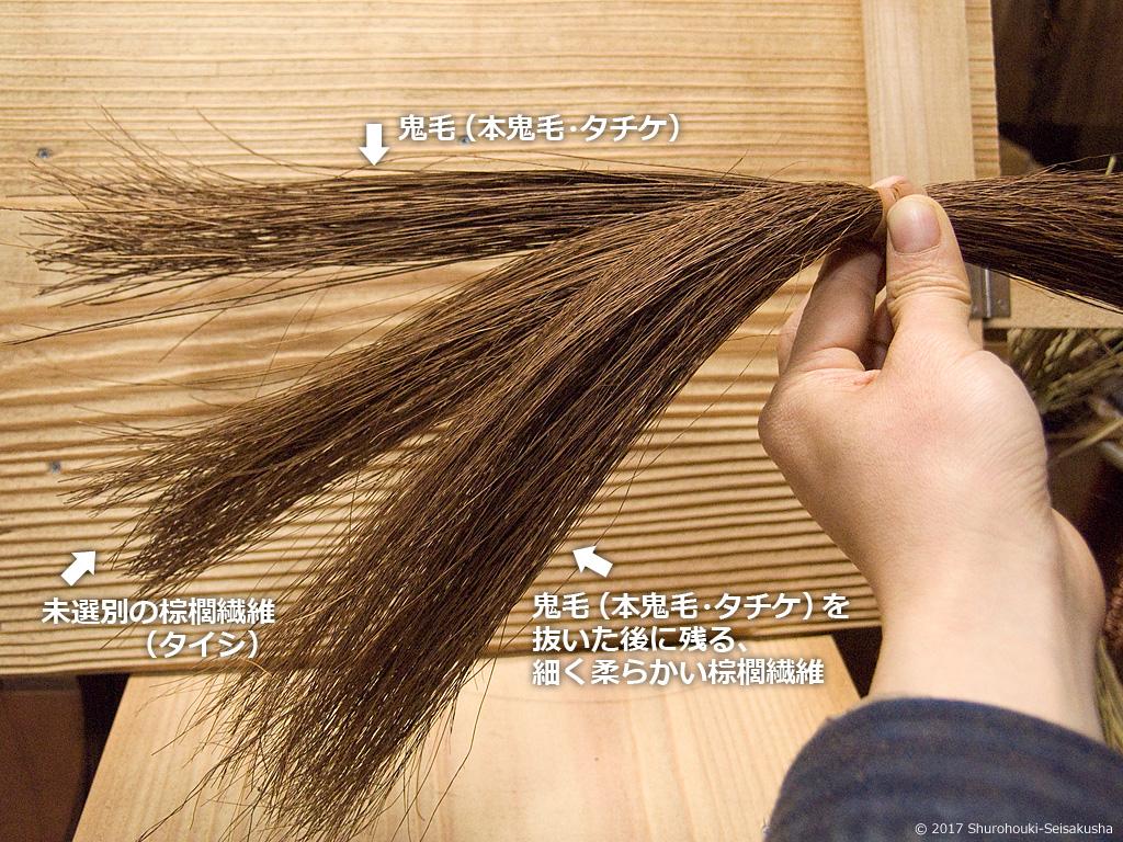 鬼毛など棕櫚繊維の比較画像