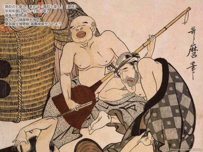 酩酊七変人(1801-1803)-喜多川歌麿-東京国立博物館 画像検索サイトより