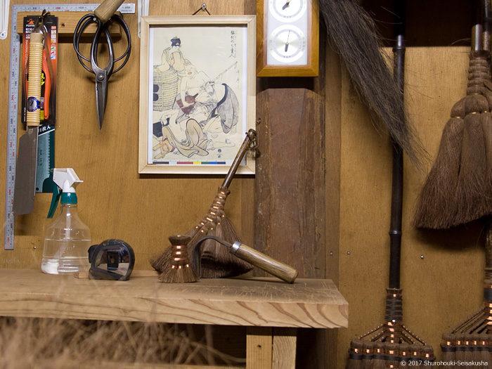 作業場正面の壁面-喜多川歌麿の酩酊七変人の絵