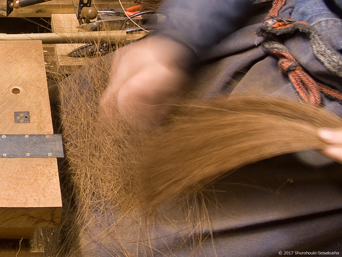 鬼毛(タイシ)長柄箒の玉作り