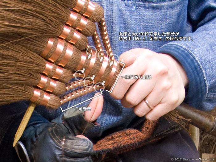 棕櫚箒の持ち手(柄)と足巻きの接合部