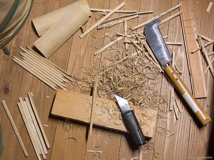 黒竹の選別と下準備・コウガイ削り