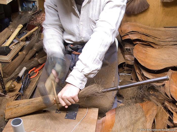 子ども用の棕櫚皮5玉手箒作り