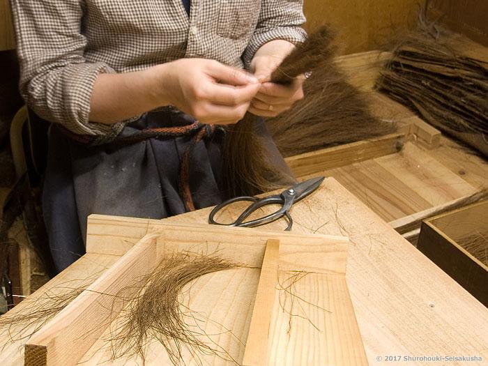 棕櫚箒-しゅろ鬼毛の選別