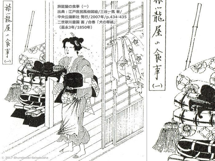 江戸時代の棕櫚箒-二世歌川豊国画-犬の草紙-嘉永3年/1850年