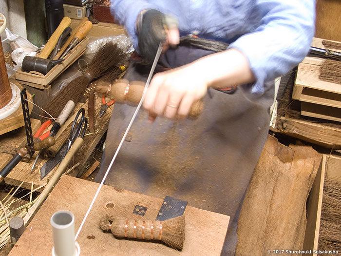 製作風景-【棕櫚箒】茶釜洗い/ツリガネ型