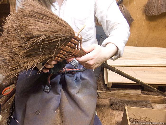 棕櫚箒-本鬼毛9玉長柄箒を合わせる