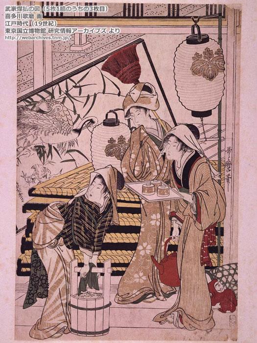 昔の棕櫚箒(江戸時代)8-「武家煤払の図」/19世紀/喜多川歌麿 画