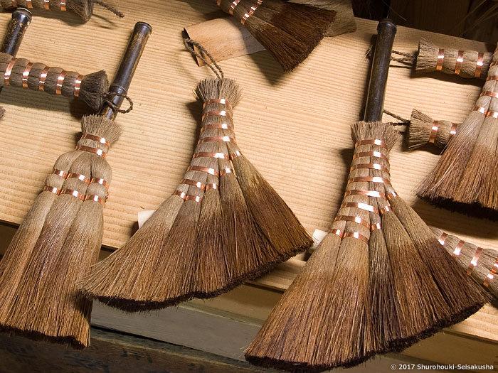 製作風景-【棕櫚箒】皮荒神箒・小箒の自然乾燥