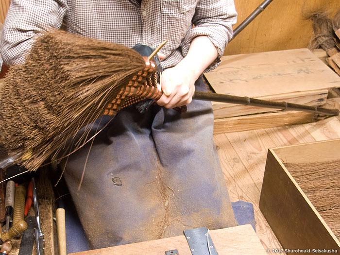 棕櫚箒-本鬼毛9玉長柄箒作り