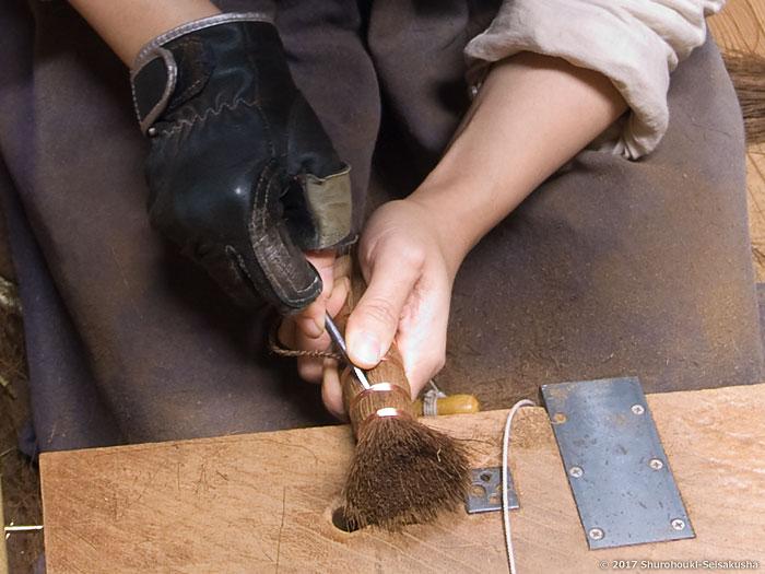 棕櫚箒-棒束子[キリワラ]足袋洗い製作
