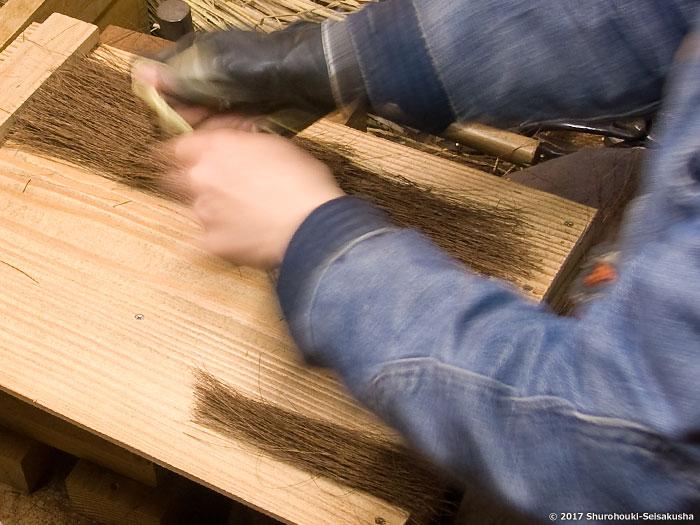 棕櫚箒-本鬼毛箒の玉作りと原料整理