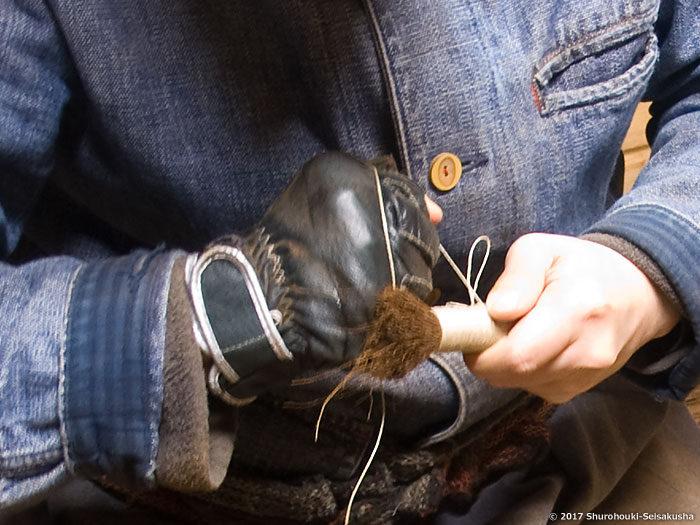 【棕櫚箒】棒束子[キリワラ]やわらかの製作