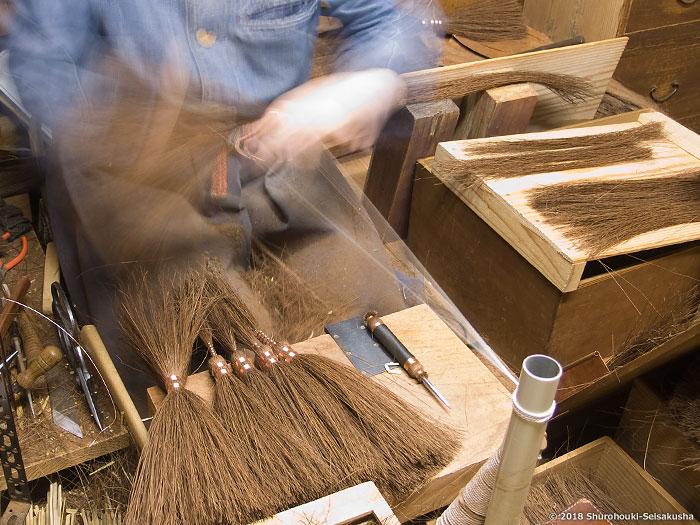 棕櫚箒-鬼毛箒(タイシ箒)の玉作り