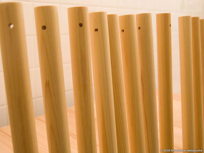 棕櫚箒-ヒノキ柄の下準備と本鬼毛の選別