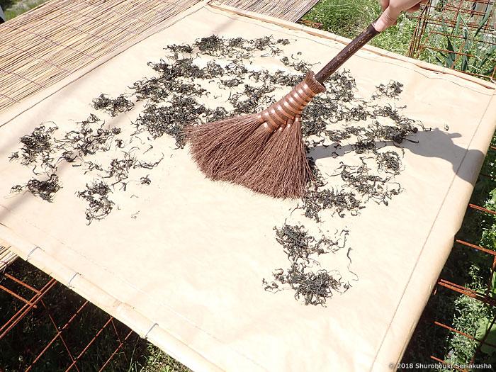 棕櫚箒-本鬼毛5玉小手箒[階段箒]を使う