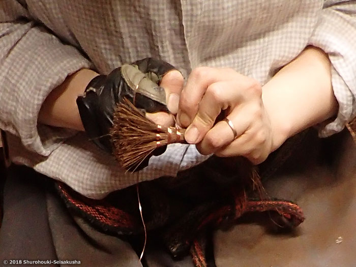 棕櫚箒-鬼毛ミニ箒すり鉢用の製作