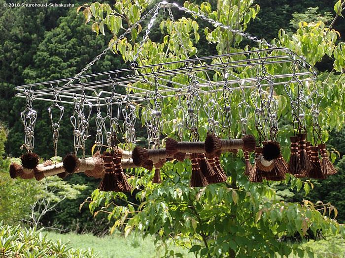 棕櫚箒-ミニ箒と棒束子の仕上げ乾燥