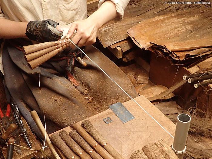 棕櫚箒-棕櫚皮荒神箒の製作
