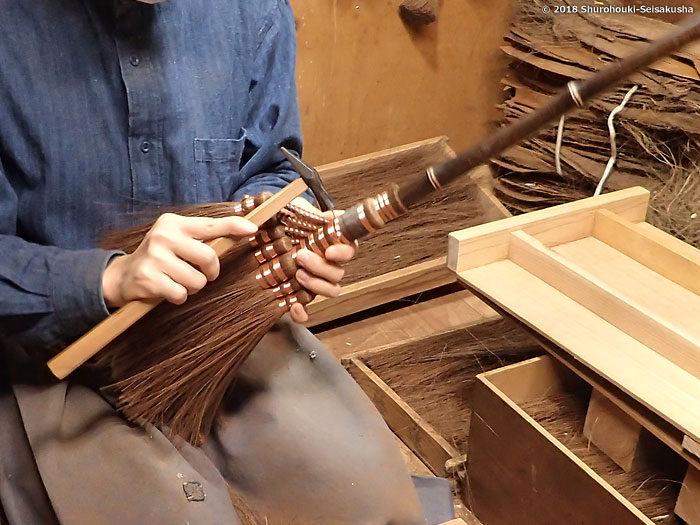 製作風景-【棕櫚箒】鬼毛箒の修理/柄の差替え