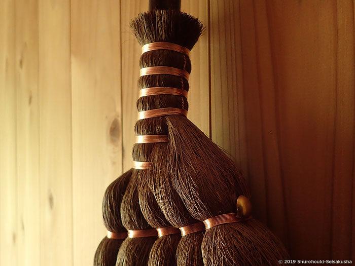 仕様変更(麻糸巻2種を追加):棕櫚皮5玉手箒・上/銅線巻