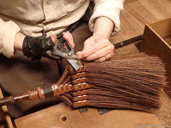 棕櫚箒-本鬼毛7玉長柄箒を合わせる