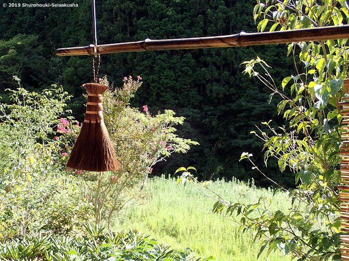 棕櫚箒-皮荒神箒3玉共柄の製作