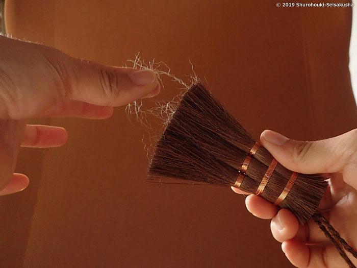 お手入れ-出てきた毛をつまんで捨てます