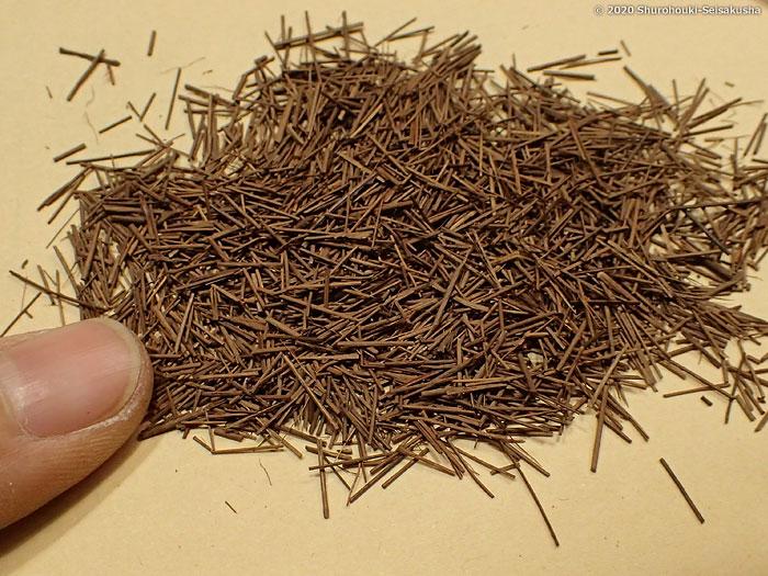 製作風景-本鬼毛端材を棕櫚毛塗に生かせないか