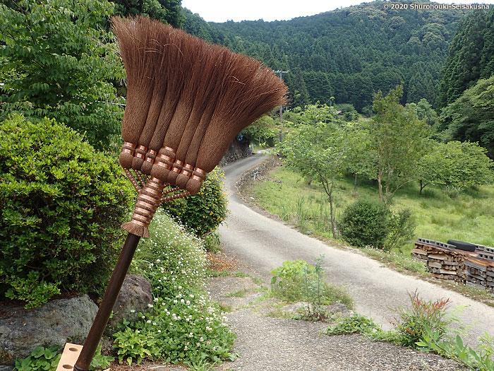 製作風景-自然乾燥【棕櫚箒】皮長柄箒