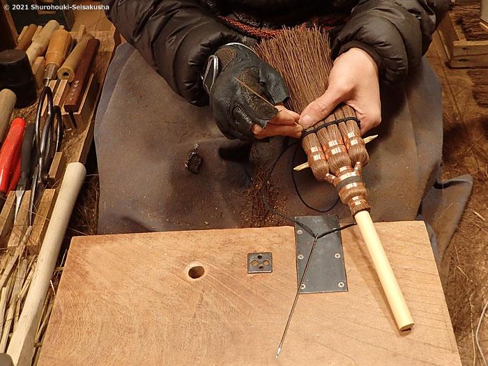 棕櫚箒-特注の寺社/護摩壇用小箒作り